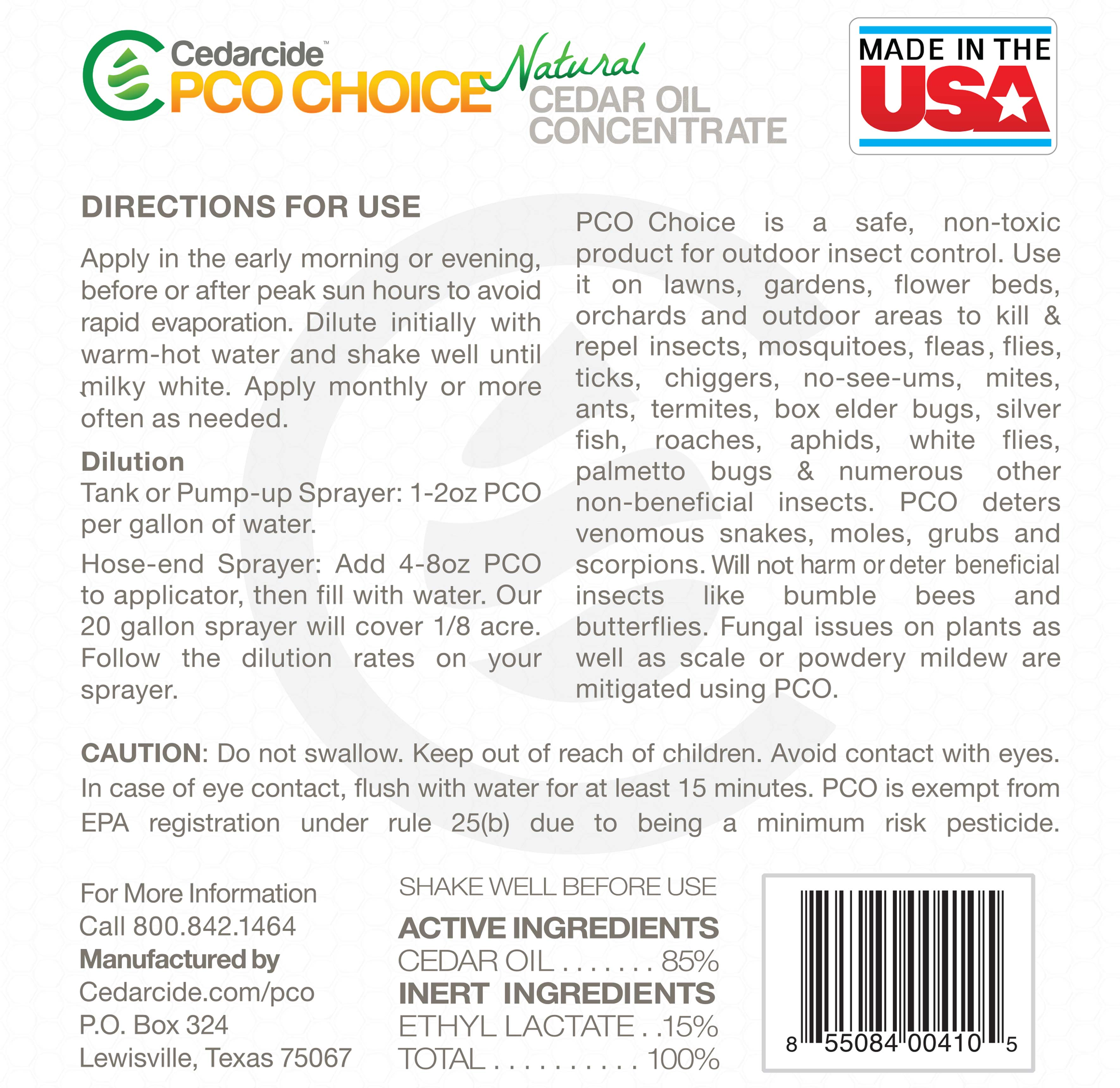 PCO CHOICE back label